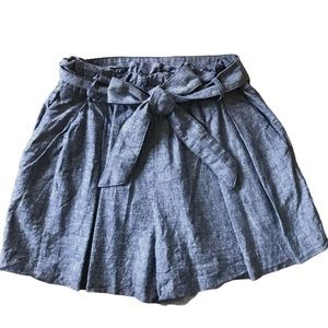 ZARA CHAMBRAY BLUE BELTED PLEATED PAPERBAG SHORTS